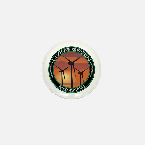 Living Green Mississippi Wind Power Mini Button