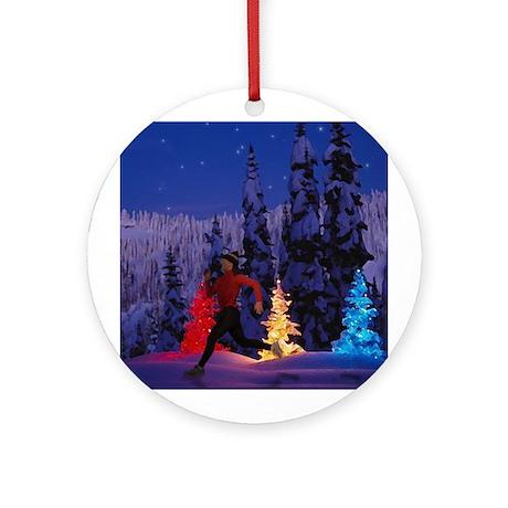 Runner's Holiday Scene (Female Runner) Ornament (R