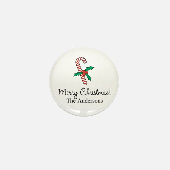 Personalized Christmas candy cane Mini Button