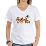 Cartoon Kitten Cats Christm Women's V-Neck T-Shirt