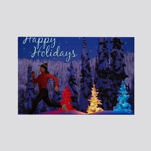 Runner's Holiday Card (Female Rectangle Magnet