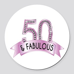 50 & Fabulous Diamonds Round Car Magnet