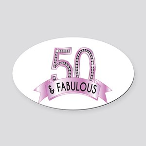 50 & Fabulous Diamonds Oval Car Magnet