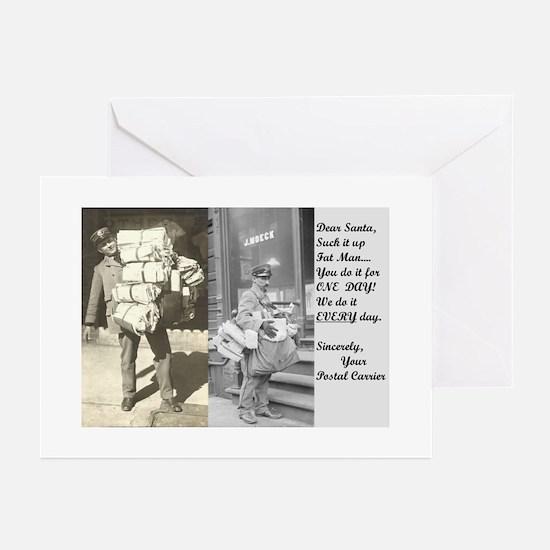 Santa Delivering Postal Worker Greeting Cards