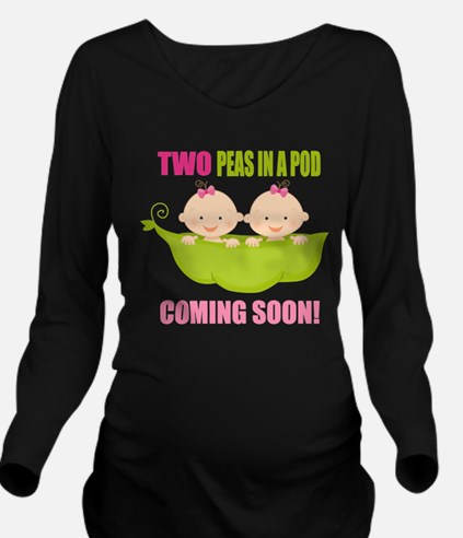 Cute Two peas pod Long Sleeve Maternity T-Shirt