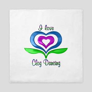 I Love Clog Dancing Hearts Queen Duvet