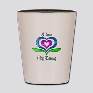 I Love Clog Dancing Hearts Shot Glass