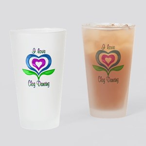 I Love Clog Dancing Hearts Drinking Glass