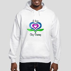 I Love Clog Dancing Hearts Hooded Sweatshirt