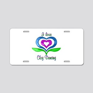 I Love Clog Dancing Hearts Aluminum License Plate