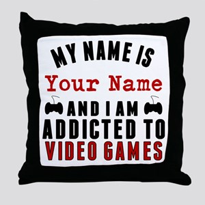 Addicted To Video Games Throw Pillow