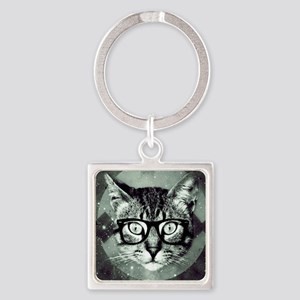 Hipster Cat Square Keychain