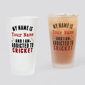 Addicted To Cricket Drinking Glass