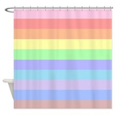Pastel Rainbow Stripes Shower Curtain