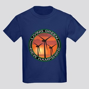 Living Green New Hampshire Wind Power Kids Dark T-
