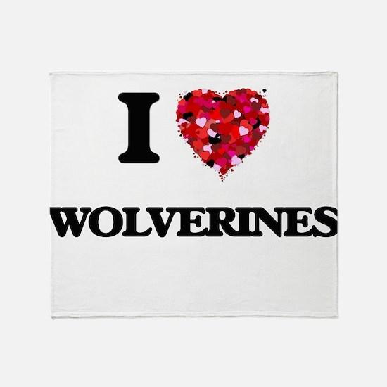 I love Wolverines Throw Blanket