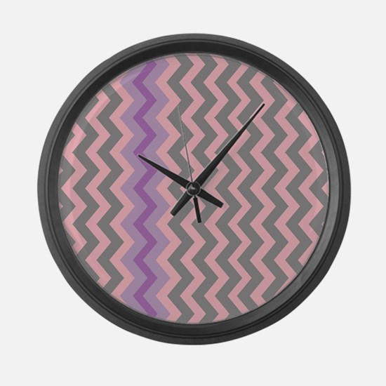 Pink and Gray Chevron With Purple Large Wall Clock