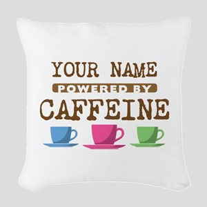 Powered by Caffeine Woven Throw Pillow