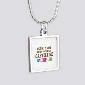Powered by Caffeine Silver Square Necklace