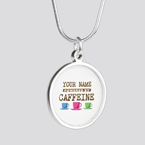 Powered by Caffeine Silver Round Necklace