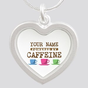 Powered by Caffeine Silver Heart Necklace