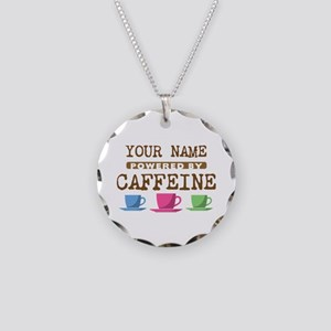 Powered by Caffeine Necklace Circle Charm