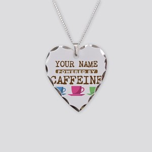 Powered by Caffeine Necklace Heart Charm