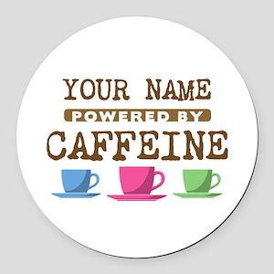 Powered by Caffeine Round Car Magnet