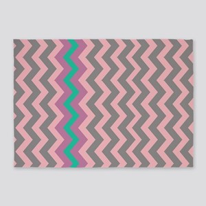 Pink and Gray Chevron With Teal 5'x7'Area Rug