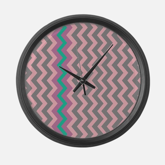 Pink and Gray Chevron With Teal Large Wall Clock