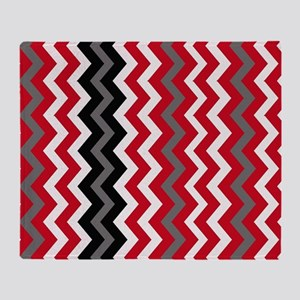 Red,Gray and White with Black Zigzags Throw Blanke