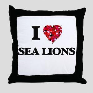 I love Sea Lions Throw Pillow