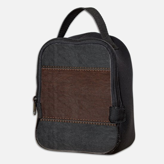 Brow And Black Vintage Leather Neoprene Lunch Bag
