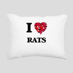 I love Rats Rectangular Canvas Pillow