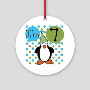 Penguin 7th Birthday Ornament (Round)