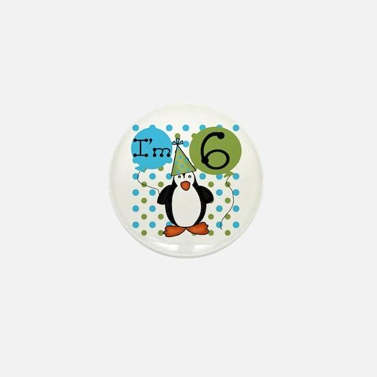 Penguin 6th Birthday Mini Button