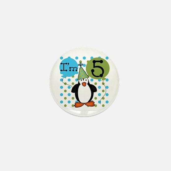Penguin 5th Birthday Mini Button