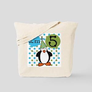 Penguin 5th Birthday Tote Bag