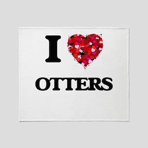I love Otters Throw Blanket