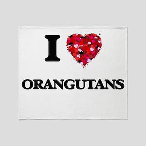 I love Orangutans Throw Blanket