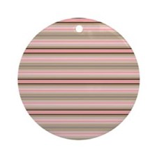 Pink and beige stripes Round Ornament