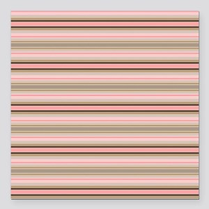 """Pink and beige stripes Square Car Magnet 3"""" x 3"""""""