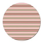 Pink and beige stripes Round Car Magnet