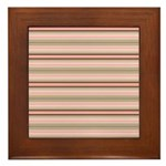 Pink and beige stripes Framed Tile