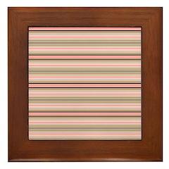 Pink and beige stripes Framed Tile
