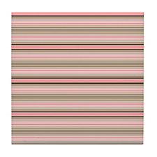Pink and beige stripes Tile Coaster