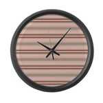 Pink and beige stripes Large Wall Clock