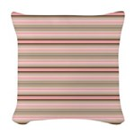Pink and beige stripes Woven Throw Pillow