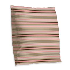Pink and beige stripes Burlap Throw Pillow