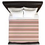 Pink and beige stripes King Duvet